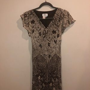 Adrianna Papell silk dress floral print brown